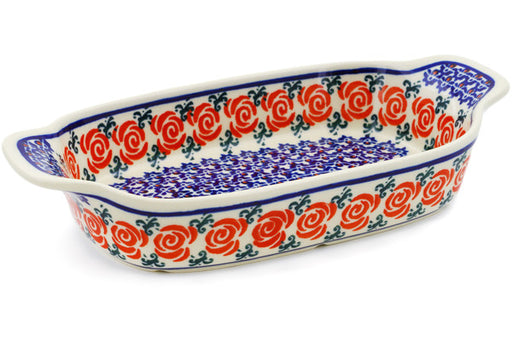Polish Pottery Serving Dish or Baker Small Wreath Of Roses Theme