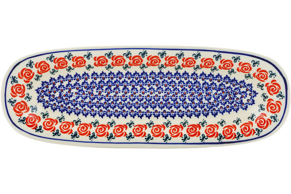 "Polish Pottery Platter 15"" Wreath Of Roses Theme"