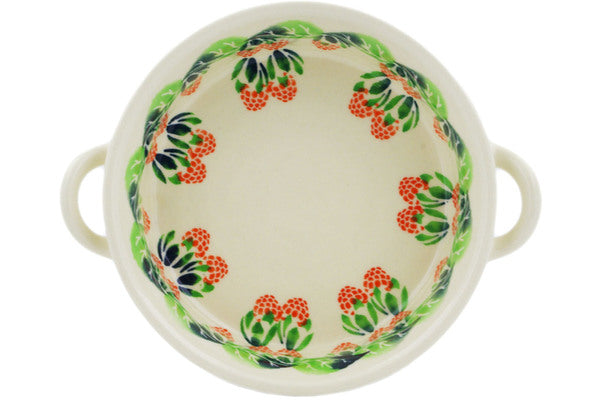 Polish Pottery Round Baker with Handles 6-inch Juicy Bunch Of Raspberries Theme