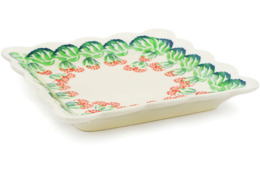 "Polish Pottery Scalloped Platter 6"" Juicy Bunch Of Raspberries Theme"