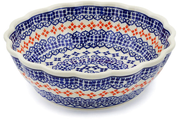 "Polish Pottery Fluted Bowl 8"" Blue Heart Theme"