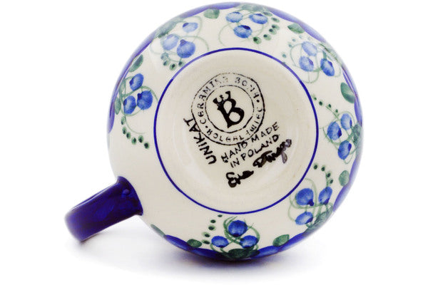 Polish Pottery Bubble Mug 12 oz Blue Wildflower Theme UNIKAT