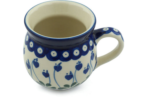 Polish Pottery Bubble Mug 12 oz Bleeding Heart Peacock Theme