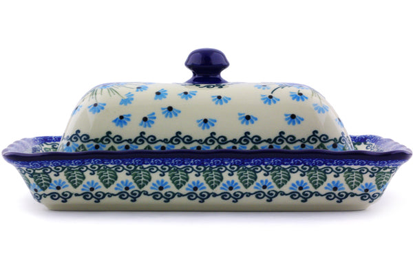 "Polish Pottery Butter Dish 9"" Forget Me Not Theme"