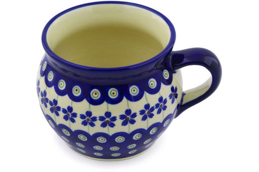 Polish Pottery Bubble Mug 16 oz Flowering Peacock Theme