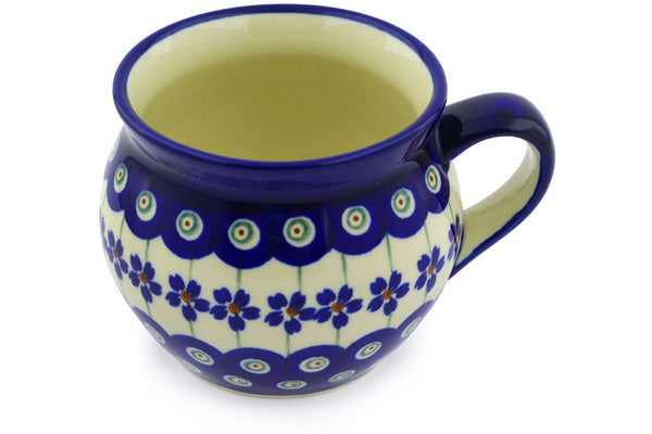 Polish Pottery Bubble Mug 12 oz Flowering Peacock Theme