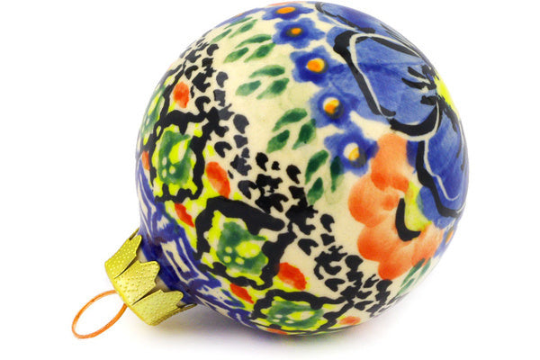 "Polish Pottery Ornament Christmas Ball 3"" Aztec Flowers Theme UNIKAT"