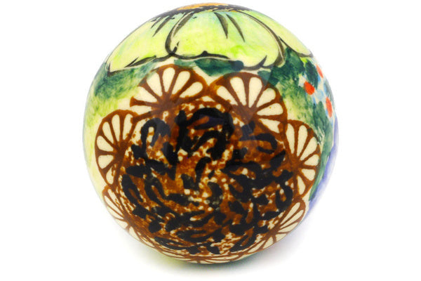 "Polish Pottery Ornament Christmas Ball 3"" Sweet Emotions Theme UNIKAT"