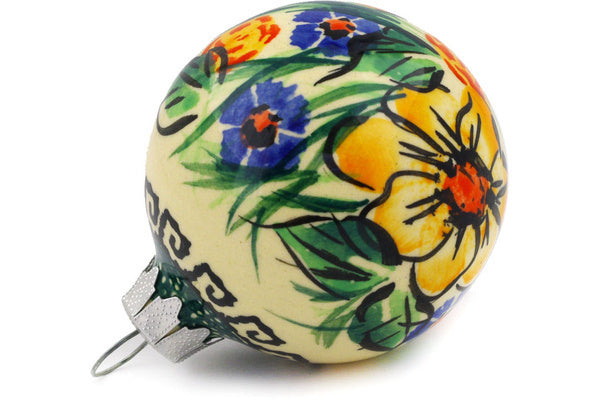 "Polish Pottery Ornament Christmas Ball 3"" Yellow Flower Theme UNIKAT"