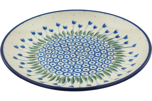 "Polish Pottery Plate 8"" Water Tulip Theme"