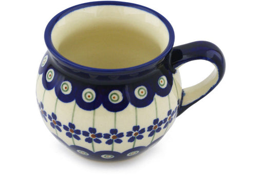 Polish Pottery Bubble Mug 7 oz Flowering Peacock Theme
