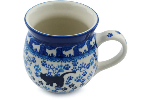 Polish Pottery Bubble Mug 16 oz Boo Boo Kitty Paws Theme