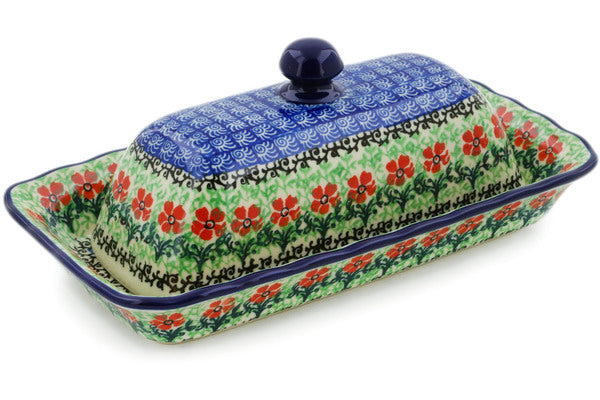 "Polish Pottery Butter Dish 9"" Maraschino Theme"
