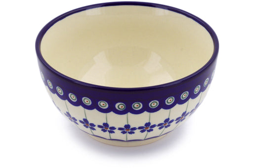 "Polish Pottery Bowl 5"" Flowering Peacock Theme"