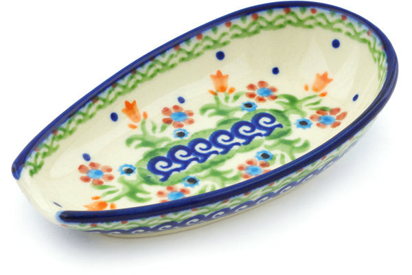 "Polish Pottery Spoon Rest 5"" Spring Flowers Theme"