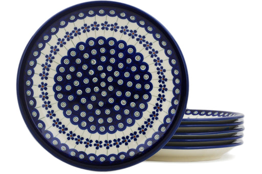 Polish Pottery 6-Piece Set of Luncheon Plates Flowering Peacock Theme