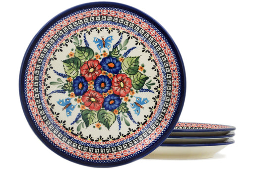 Polish Pottery 4-Piece Set of Luncheon Plates Spring Splendor Theme UNIKAT
