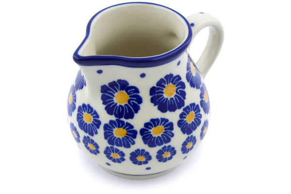 Polish Pottery Creamer 7 oz Wreath Of Blue Theme