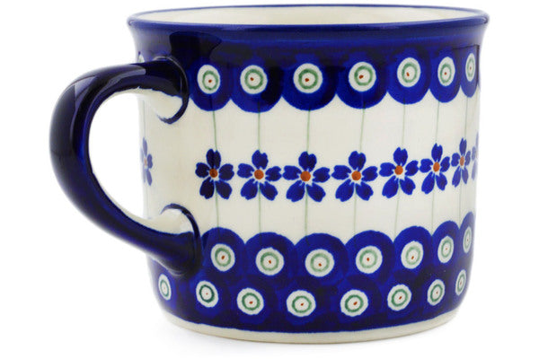 Polish Pottery Mug 14 oz Flowering Peacock Theme