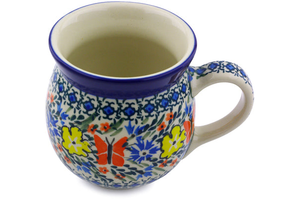Polish Pottery Bubble Mug 16 oz Daylight Garden Theme UNIKAT