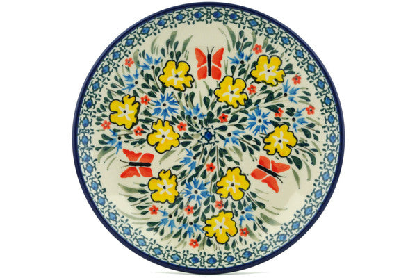 "Polish Pottery Plate 8"" Daylight Garden Theme UNIKAT"
