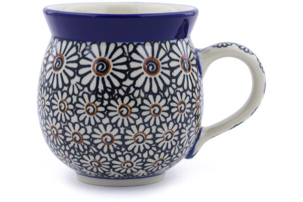 Polish Pottery Bubble Mug 12 oz Dark Daisies Theme