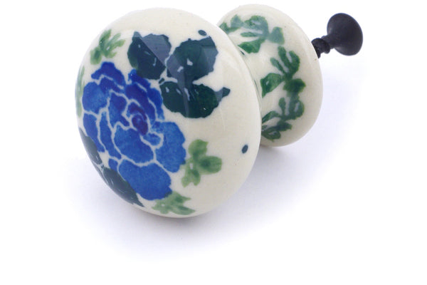 "Polish Pottery Drawer Pull Knob 1"" Floral Spring Theme"