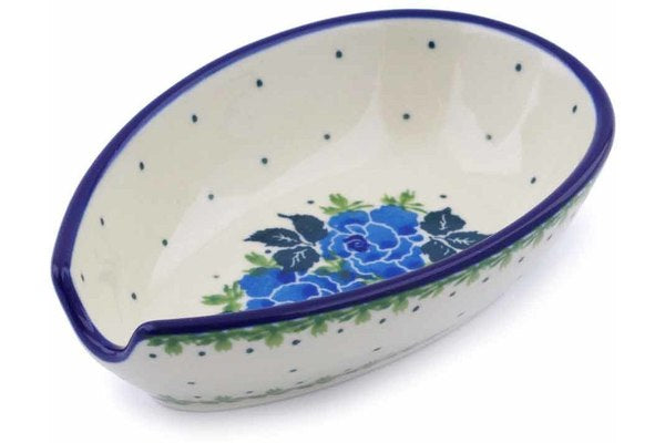 "Polish Pottery Spoon Rest 5"" Blue Garland Theme"