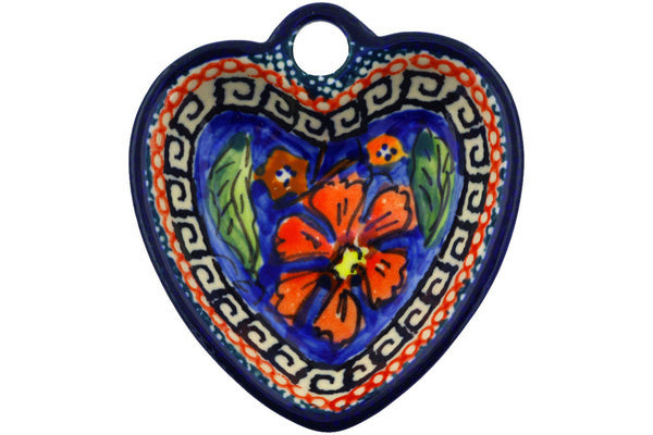 "Polish Pottery Heart Shaped Bowl 3"" Poppies Theme UNIKAT"