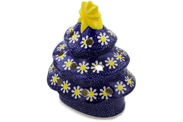 "Polish Pottery Christmas Tree Candle Holder 7"" Daisy Theme"