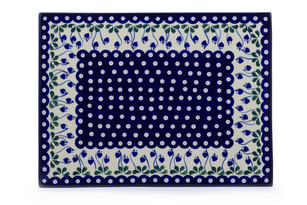 "Polish Pottery Cookie Sheet 15"" Bleeding Heart Peacock Theme"