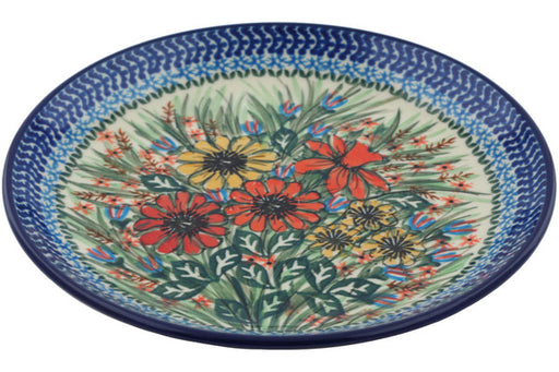 "Polish Pottery Plate 8"" Spring Field Theme UNIKAT"