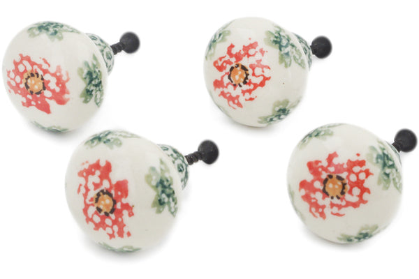 Polish Pottery Set of 4 Drawer Pull Knobs Sponge Garland Theme