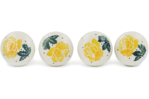 Polish Pottery Set of 4 Drawer Pull Knobs Yellow Rose Theme