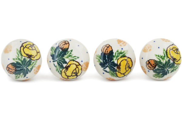Polish Pottery Set of 4 Drawer Pull Knobs Spring Flowers Theme