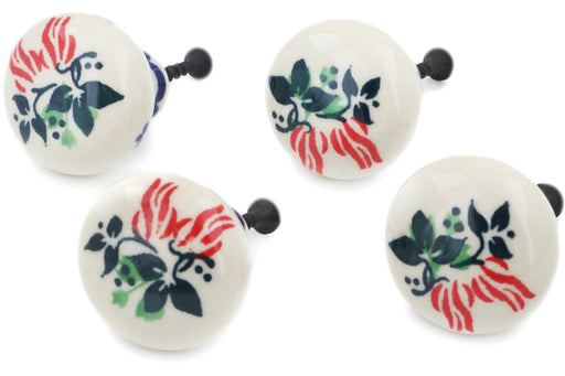 Polish Pottery Set of 4 Drawer Pull Knobs Hanging Flowers Theme