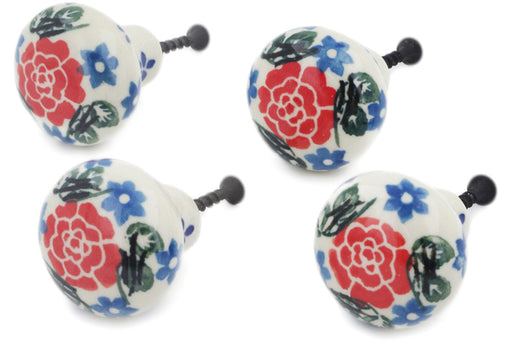 Polish Pottery Set of 4 Drawer Pull Knobs Burst Of Roses Theme