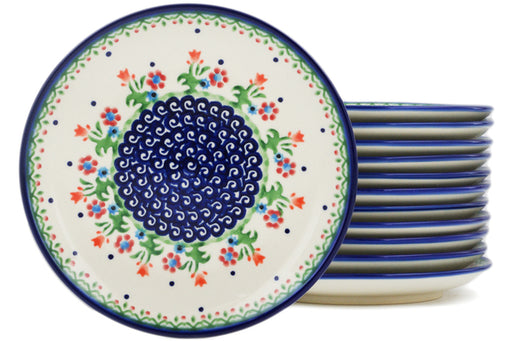 Polish Pottery Set of 12 dessert plates Spring Flowers Theme