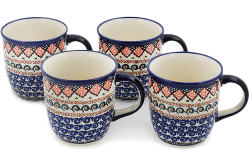 Polish Pottery Set of Four 12oz Mugs Coral Diamonds Theme UNIKAT