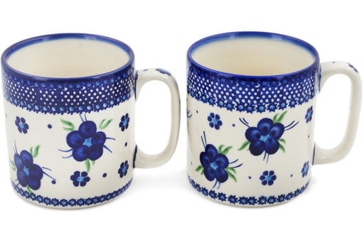Polish Pottery Set of 2 Mugs Bleu-belle Fleur Theme
