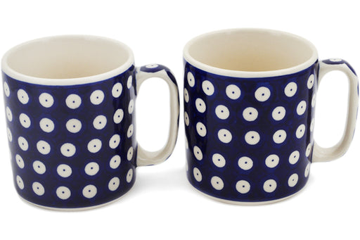Polish Pottery Set of 2 Mugs Blue Eyed Peacock Theme