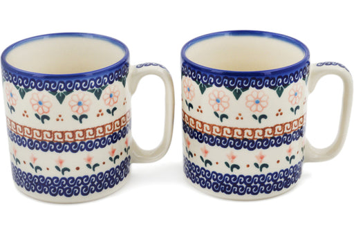 Polish Pottery Set of 2 Mugs Amarillo Theme