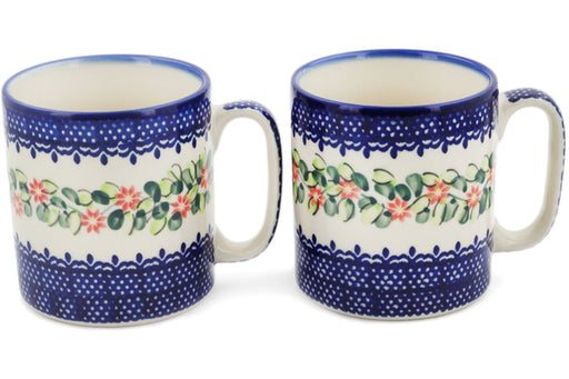 Polish Pottery Set of 2 Mugs Elegant Garland Theme