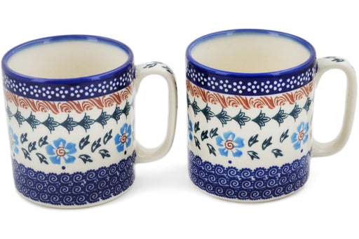Polish Pottery Set of 2 Mugs Blue Cornflower Theme