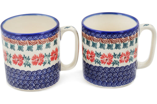 Polish Pottery Set of 2 Mugs Red Cornflower Theme