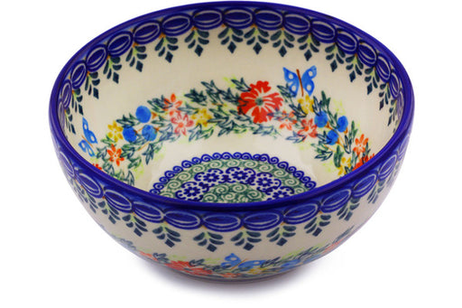 "Polish Pottery Bowl 6"" Ring Of Flowers Theme"