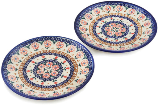 Polish Pottery Set of 2 dessert plates Amarillo Theme