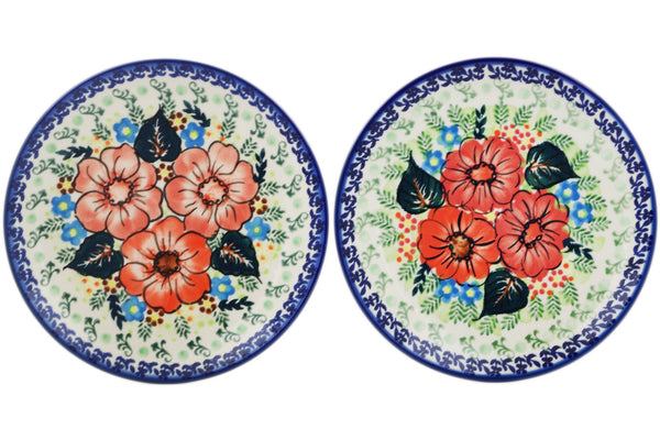 Polish Pottery Set of 2 dessert plates Bold Poppies Theme UNIKAT