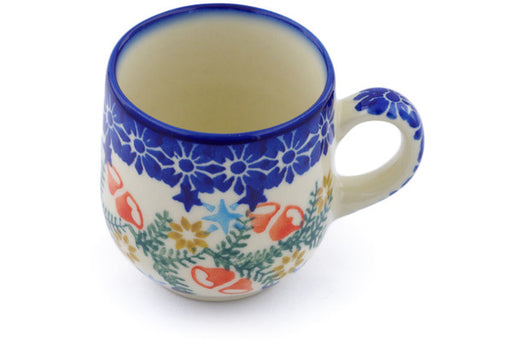 Polish Pottery Espresso Cup 4 oz Wreath Of Bealls Theme
