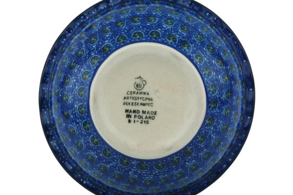 "Polish Pottery Bowl 5"" Blue Poppies Theme"